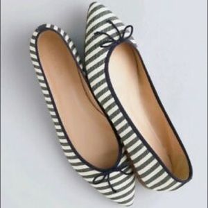 J. Crew $129 Gemma Striped Flats